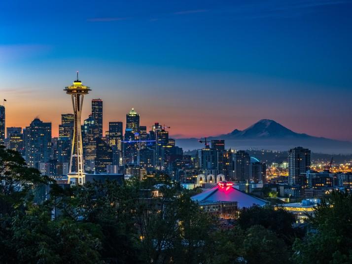 Seattle city scape at sunrise